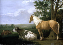A Horse and Cows in a Landscape - Abraham Van Calraet