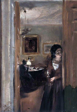 Living-Room with the Artist's Sister - Adolph Von Menzel