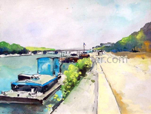Barges Along the Seine - Albert Lebourg