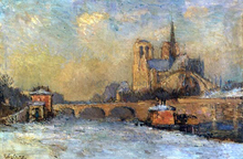 Notre-Dame and Seine, Winter - Albert Lebourg