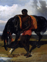 African Tending a Horse by the Sea - Alfred De Dreux