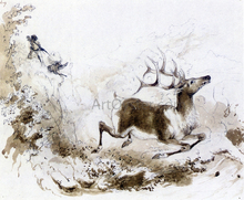 The Death of the Elk - Alfred Jacob Miller
