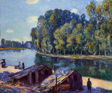 Cabins along the Loing Canal, Sunlight Effect - Alfred Sisley