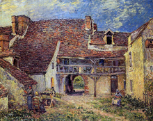Courtyard of a Farm at Saint-Mammes - Alfred Sisley