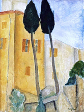 Cypress Trees and Houses, Midday Landscape - Amedeo Modigliani