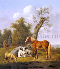 Cows, a Horse and a Sheep Resting by a Blasted Oak - Anthony Oberman