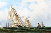Sappho off Sandy Hook Lightship - Antonio Jacobsen