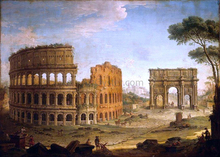 Rome: View of the Colosseum and The Arch of Constantine - Antonio Joli