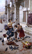 Feeding the Pigeons at Piazza St. Marco, Venice - Antonio Paoletti