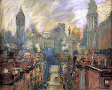 Lower New York from Manhattan Bridge - Arthur Clifton Goodwin