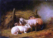 Sheep in Shed - Arthur Fitzwilliam Tait