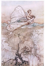 ...her fairy sent to bear him to my bower in fairy land (also known as her fairy sent) - Arthur Rackham