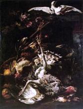 Still-Life with Turkey, Fruit and Flying Pigeon - Baldassare De Caro