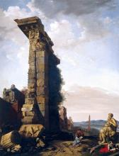 Idealised View with Roman Ruins, Sculptures, and a Port - Bartholomeus Breenbergh
