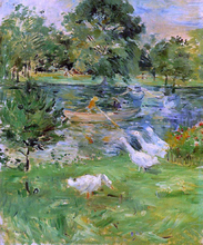 Girl in a Boat, with Geese - Berthe Morisot