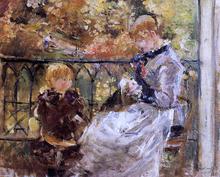 On the Balcony of Eugene Manet's Room at Bougival - Berthe Morisot