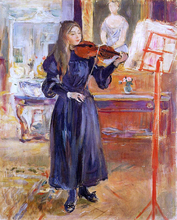 A Girl Studying the Violin - Berthe Morisot