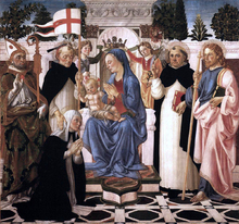 Virgin and Child Enthroned with Five Saints and Two Angels