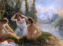 Bathers Seated on the Banks of a River - Camille Pissarro