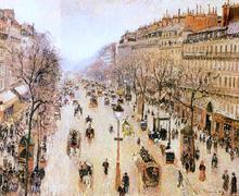 Boulevard Montmartre: Morning, Grey Weather - Camille Pissarro