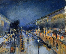 Boulevard Montmartre; Night Effect (also known as Boulevard Montmartre: effet de nuit) - Camille Pissarro