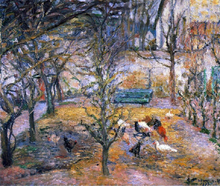 A Farmyard at the Maison Rouge, Pontoise - Camille Pissarro