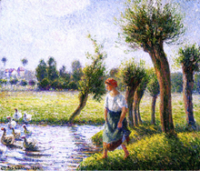 Peasant Woman Watching the Geese - Camille Pissarro