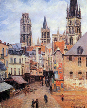 Rue de l'Eppicerie, Rouen: Morning, Grey Weather - Camille Pissarro