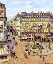 Rue Saint-Honore: Morning Sun Effect, Place du Theatre Francais - Camille Pissarro