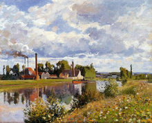 The Oise on the Outskirts of Pontoise - Camille Pissarro