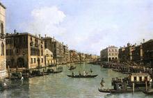 At the Grand Canal from the Campo Santa Sofia Towards the Rialto Bridge - Canaletto