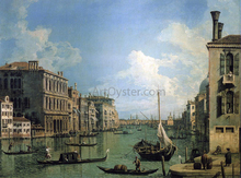 At the Grand Canal Near the Campo San Vio, Looking Towards the Church of Santa Maria della Salute - Canaletto