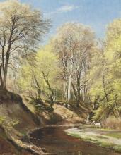 Deer at the Bend of the River - Carl Fredrik Aagard