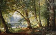 Deer Beside a Lake - Carl Fredrik Aagard