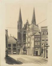 View of the Singel with the Krijtberg Church, Amsterdam - Carl Grossberg