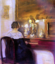 A Lady Playing the Spinet - Carl Vilhelm Holsoe