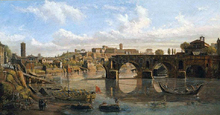 Rome: View of the River Tiber with the Ponte Rotto and the Aventine Hill - Caspar Andriaans Van Wittel