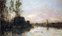 Ducklings in a River Landscape - Charles Francois Daubigny