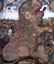 Lion Map (Leo Belgicus) (detail) - The Younger Claes Jansz Visscher