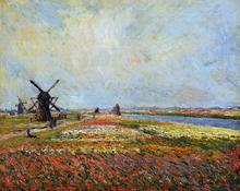 A Field of Flowers and Windmills near Leiden - Claude Oscar Monet