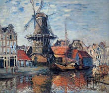 The Windmill on the Onbekende Canal, Amsterdam - Claude Oscar Monet