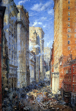 Broad Street Canyon, New York - Colin Campbell Cooper