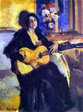 A Lady with Guitar - Constantin Alexeevich Korovin