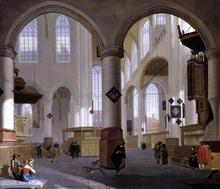Interior of the Oude Kerk, Delft - Cornelis De Man