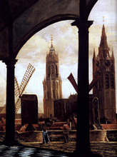 A View of Delft through an Imaginary Loggia (detail) - Daniel Vosmaer