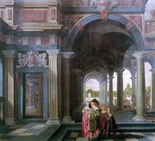 Palace Courtyard with Figures - Dirck Van Delen