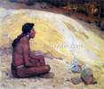 Indian Seated by a Campfire