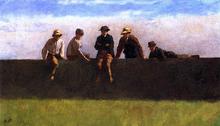 Five Boys on a Wall - Eastman Johnson