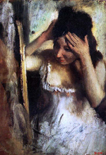 Woman Combing Her Hair before a Mirror - Edgar Degas