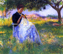 A Girl Sewing in an Orchard